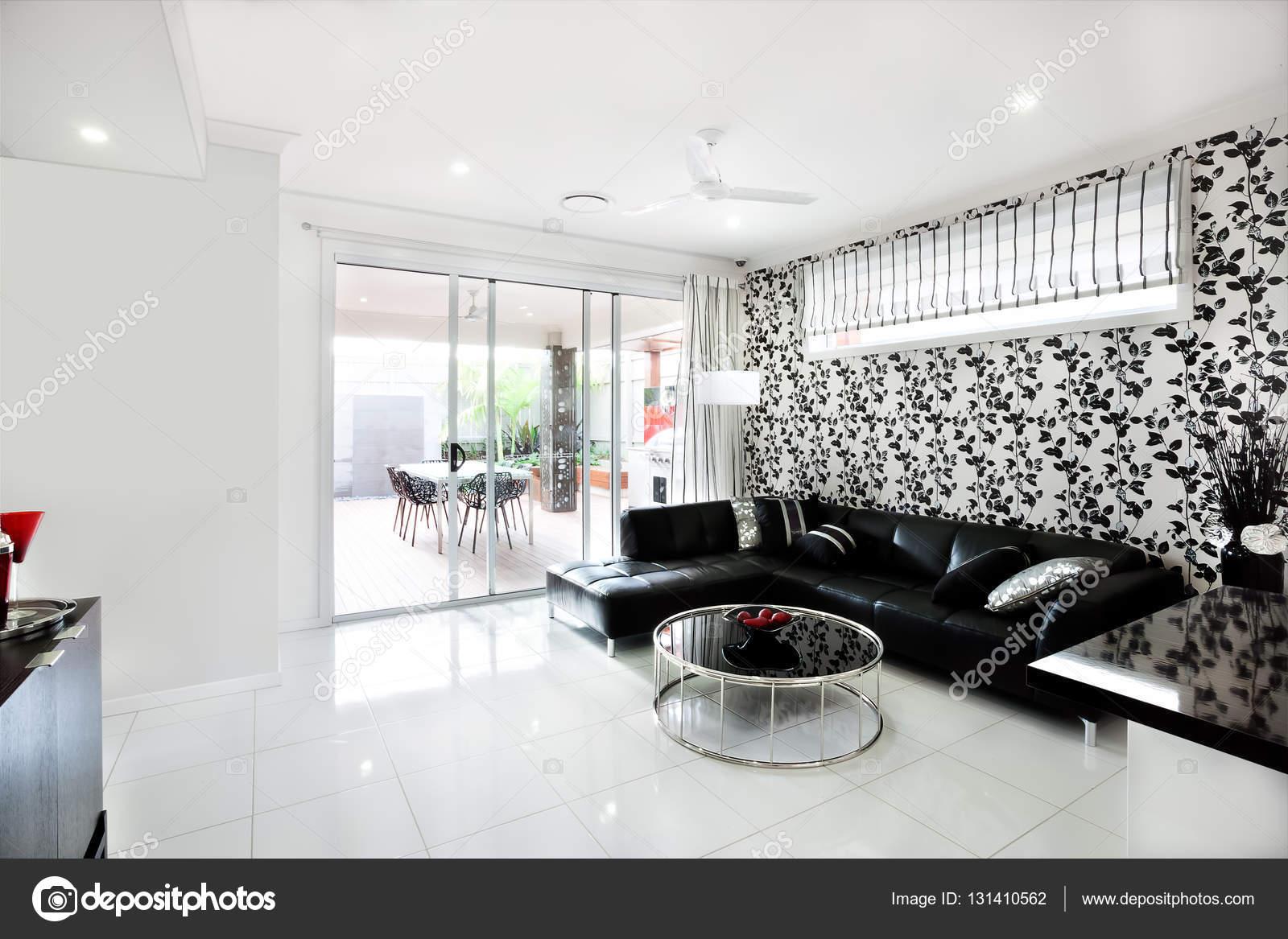 Interior de la moderna sala de casa de lujo con decoración de vid ...