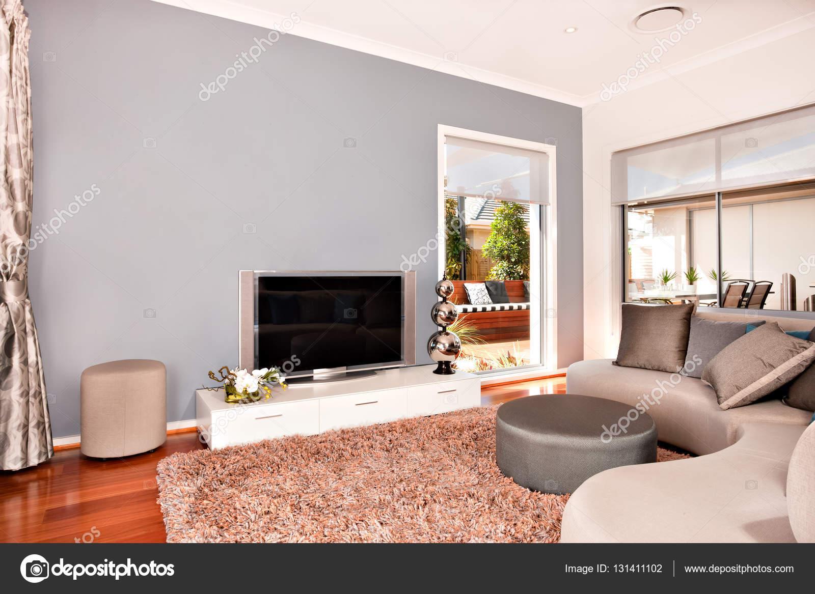 Interior De Moderna Sala De Estar Com Uma Televis O E Redondo Sof S  -> Sala De Tv Com Tapete E Almofadas