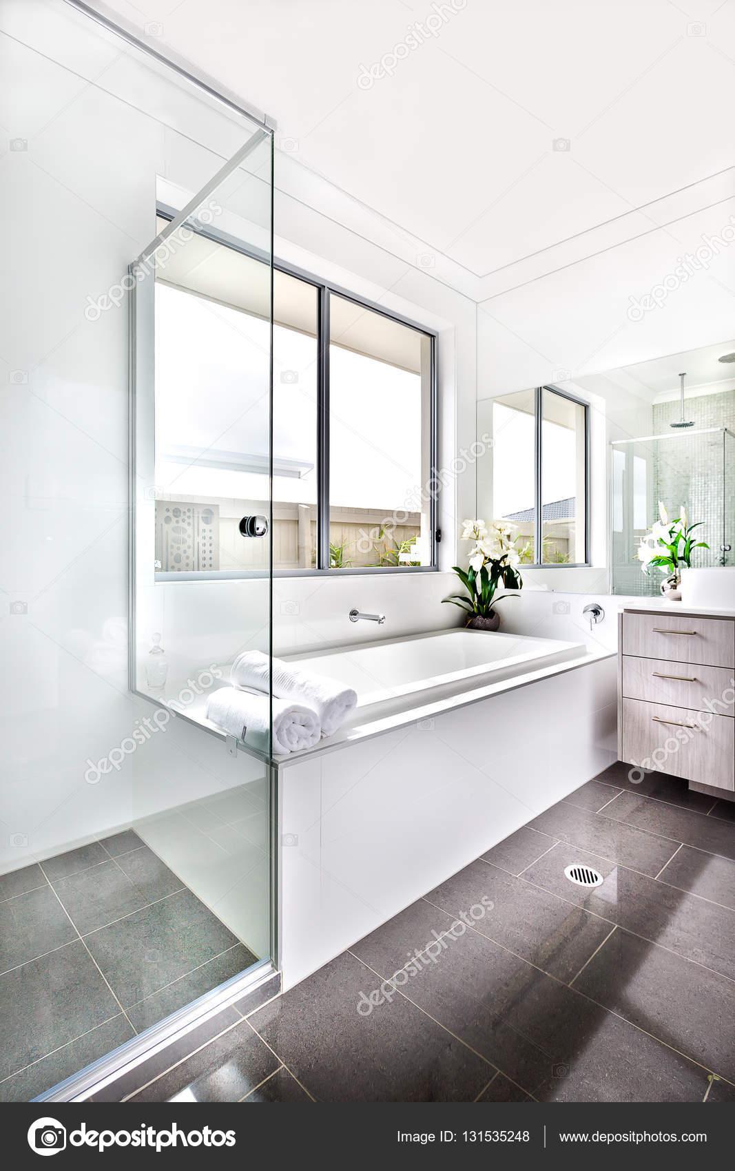 Modern washroom illuminated with the sunlight to the bath tub an ...