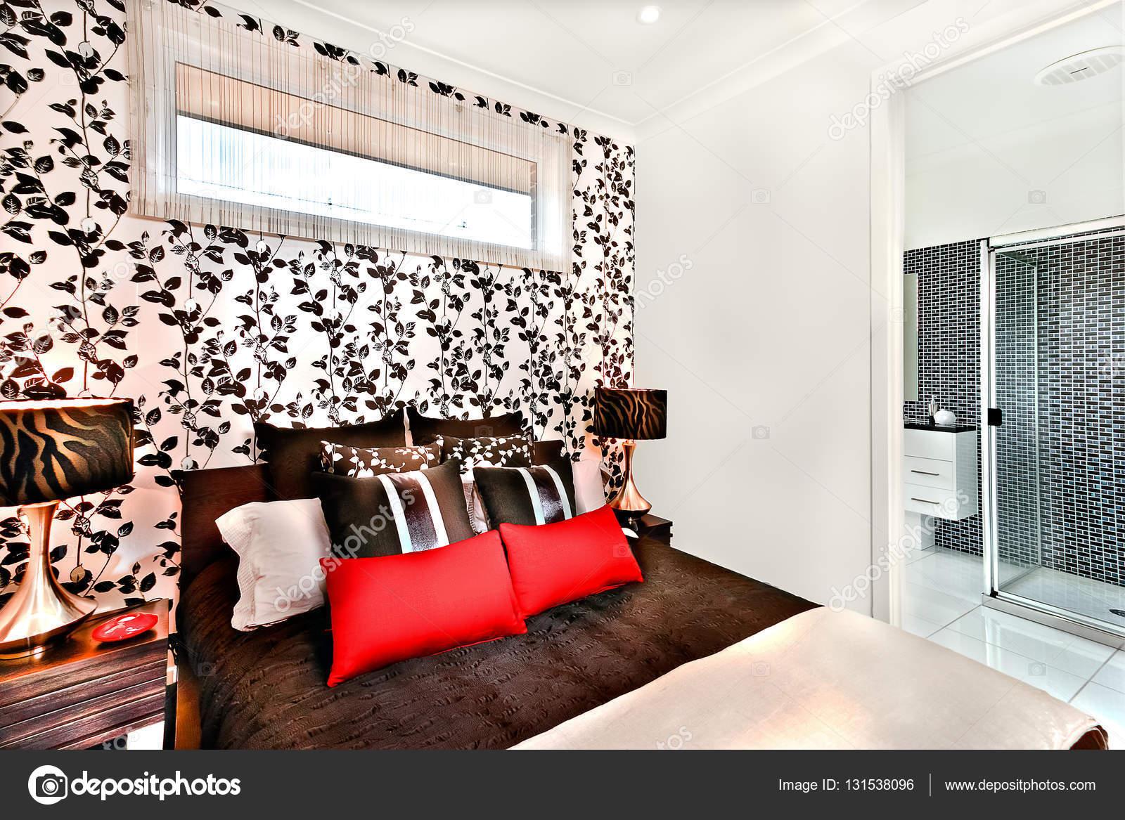 Luxus hálószoba dekoráció és belsőépítészeti a modern meleg ...