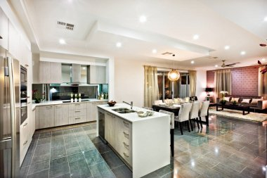 Modern and shiny kitchen with dining and living area