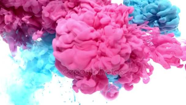 Rosa e blu inchiostro in acqua