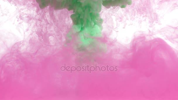 Rózsaszín és zöld tintával és víz