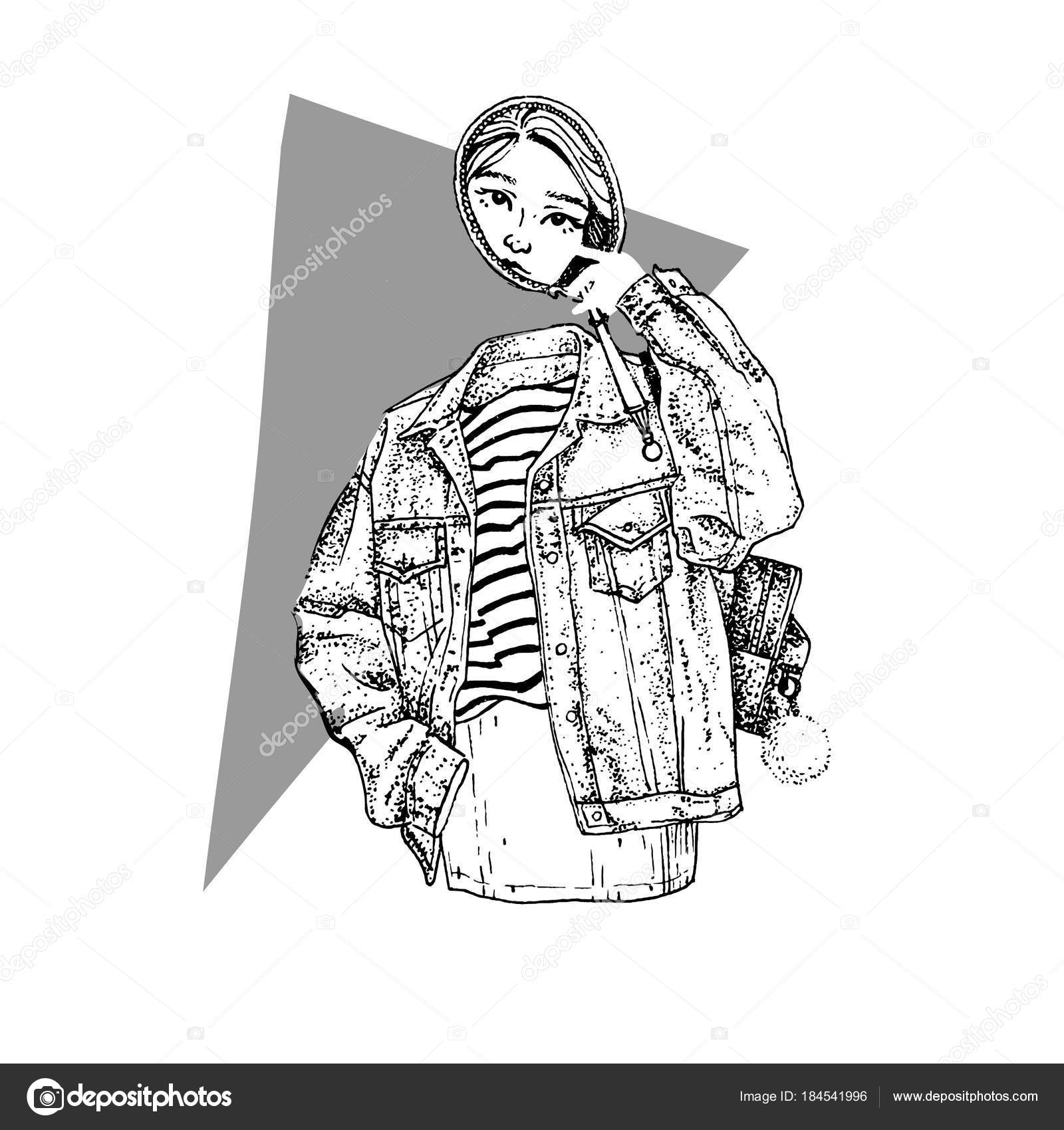 Mysterious girl ghost with mirror in jeans jacket  Vector