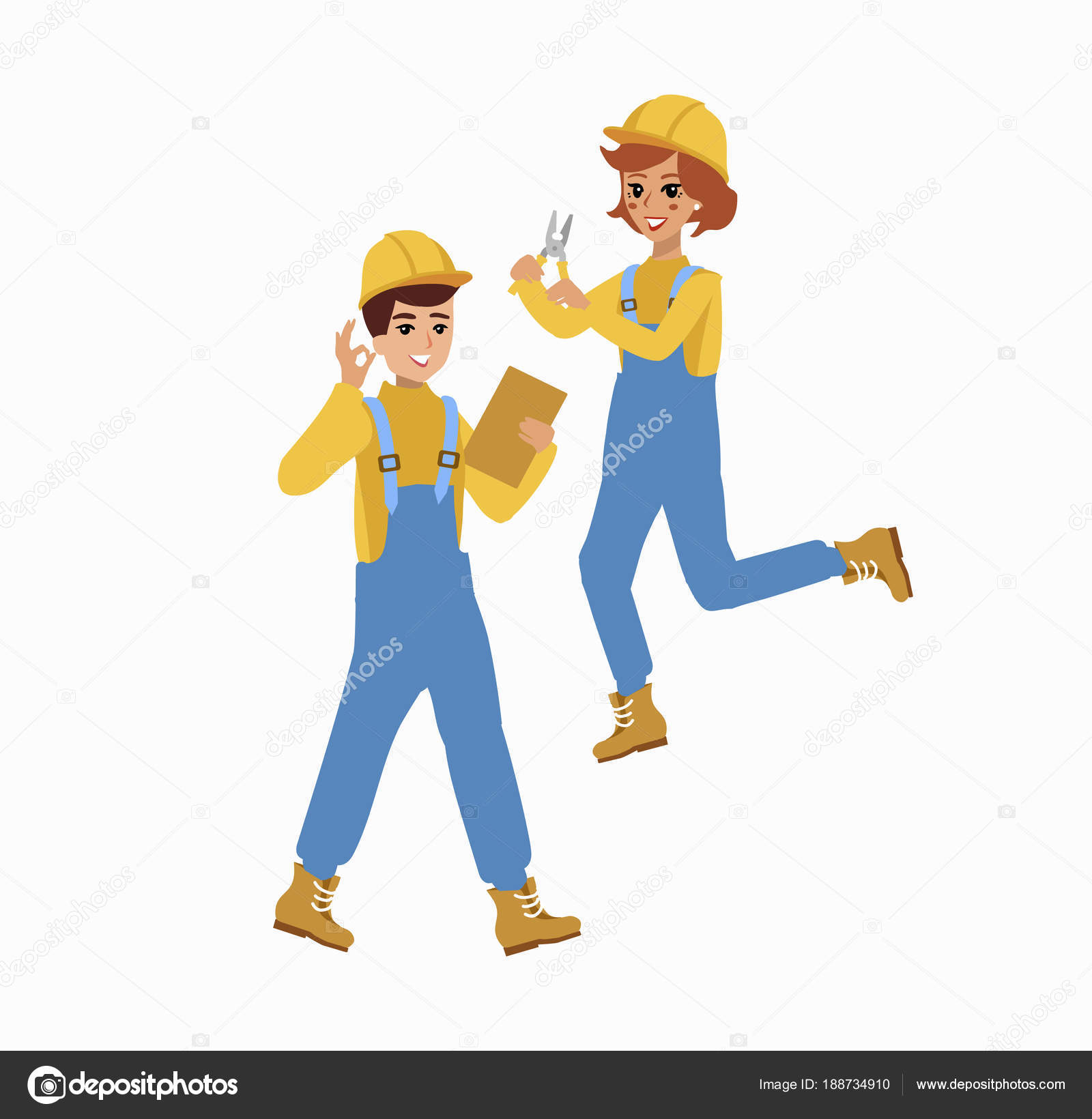 construction female and male worker character vector design animate