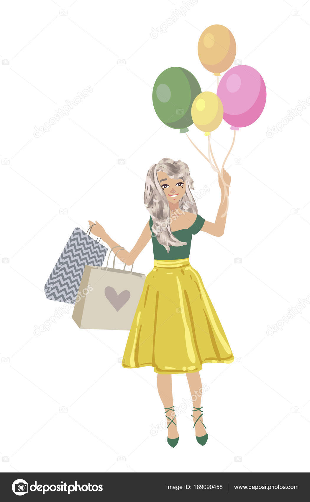 c0119398a Beautiful woman go shopping with bags and feeling happiness on white  background. Cute vector cartoon female character. Soft colors  illustration.– stock ...