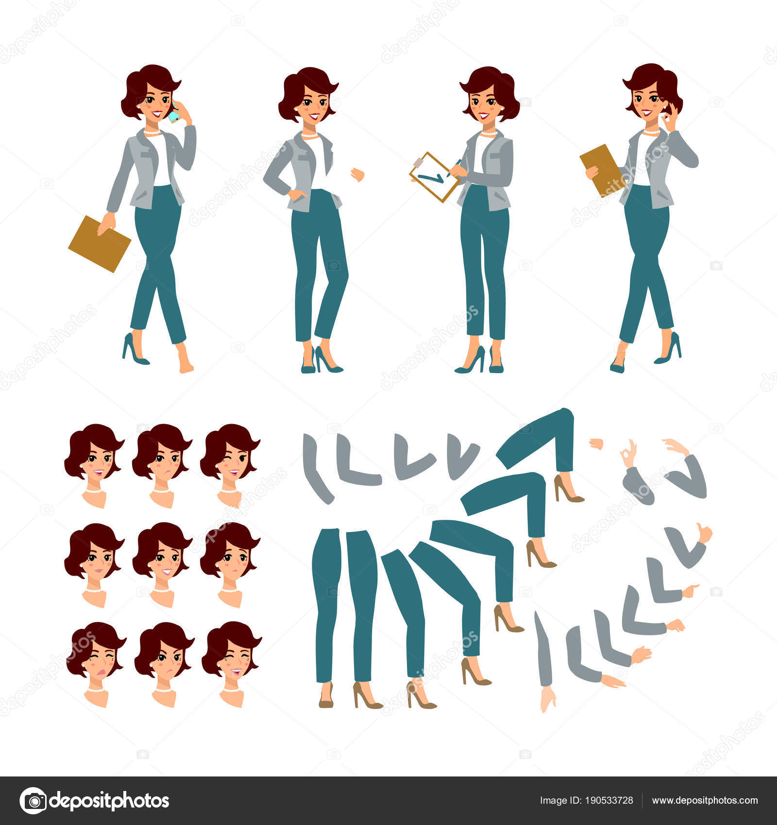 animate businesswoman character young lady personage constructor