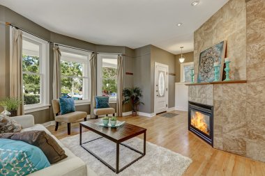 Open floor plan family room with fireplace