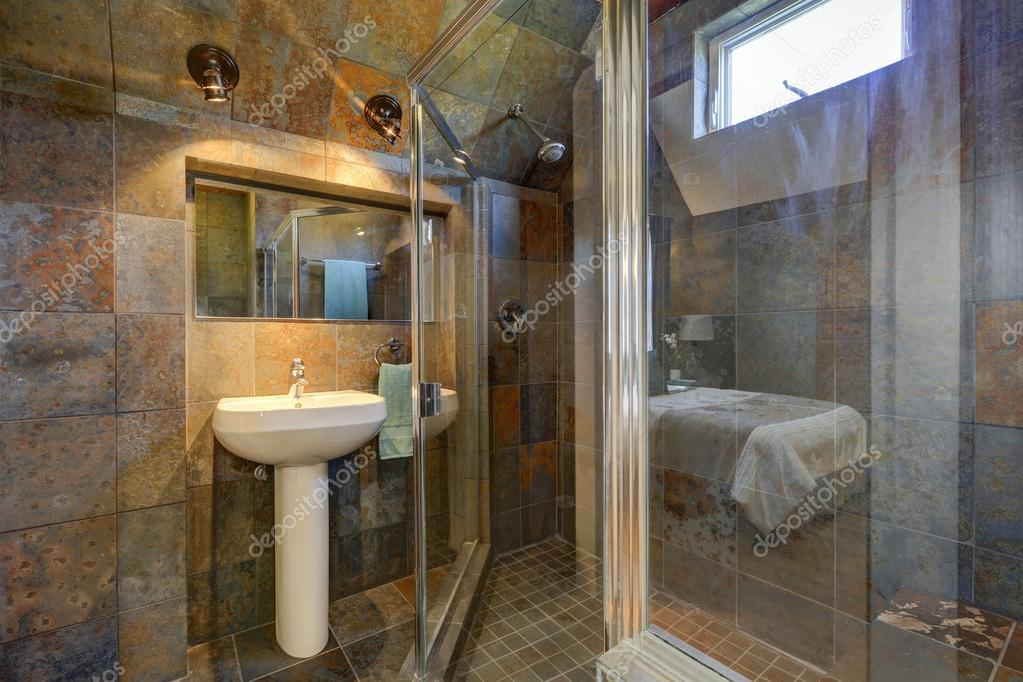 Luxury bathroom with stone walls — Stock Photo © iriana88w #127337196