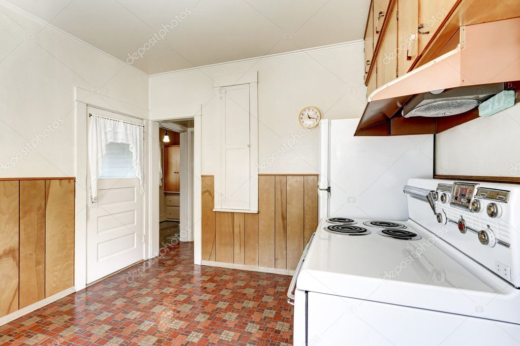 Interior of old style kitchen with linoleum floor — Stock ...