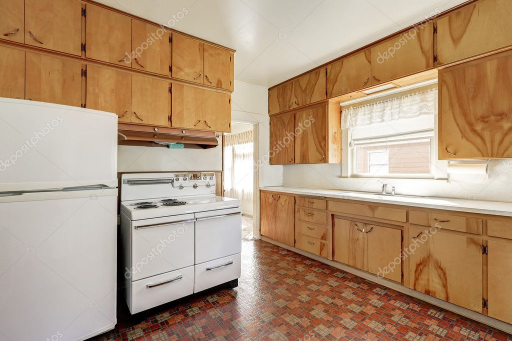 Interior Of Old Fashioned Kitchen Room With Linoleum Floor Stock