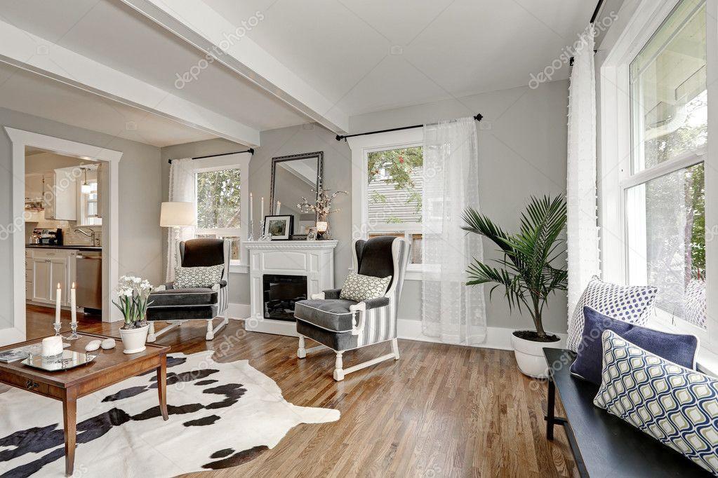 Schwarz / Weiß Innenraum Des Luxus Wohnzimmer U2014 Stockfoto