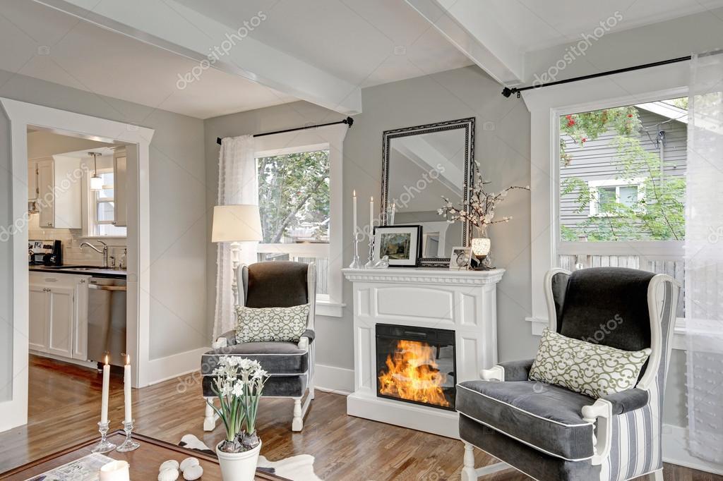Blanco y negro interior de sala de estar de lujo — Foto de stock ...