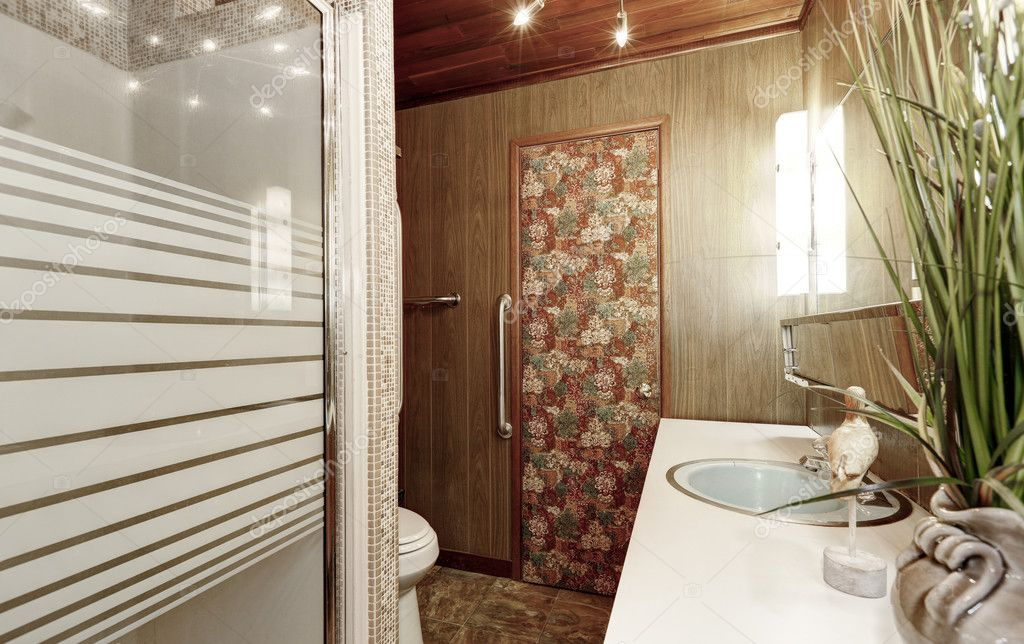 Interieur van houten panelen badkamer u2014 stockfoto © iriana88w #128000528