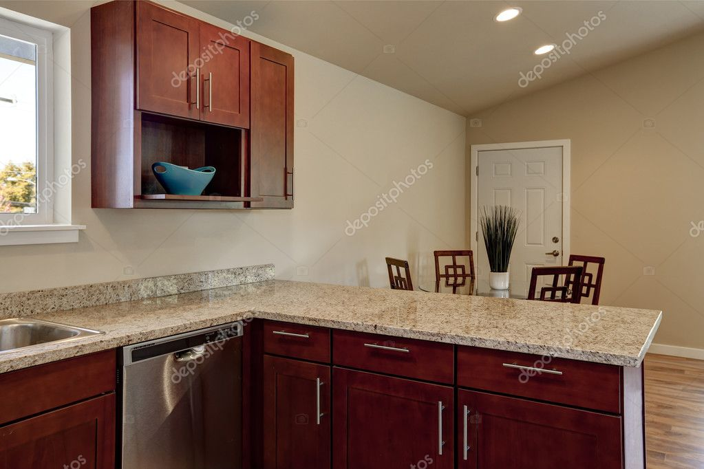 View Of Burgundy Kitchen Cabinets With Granite Counter Top U2014 Stock Photo