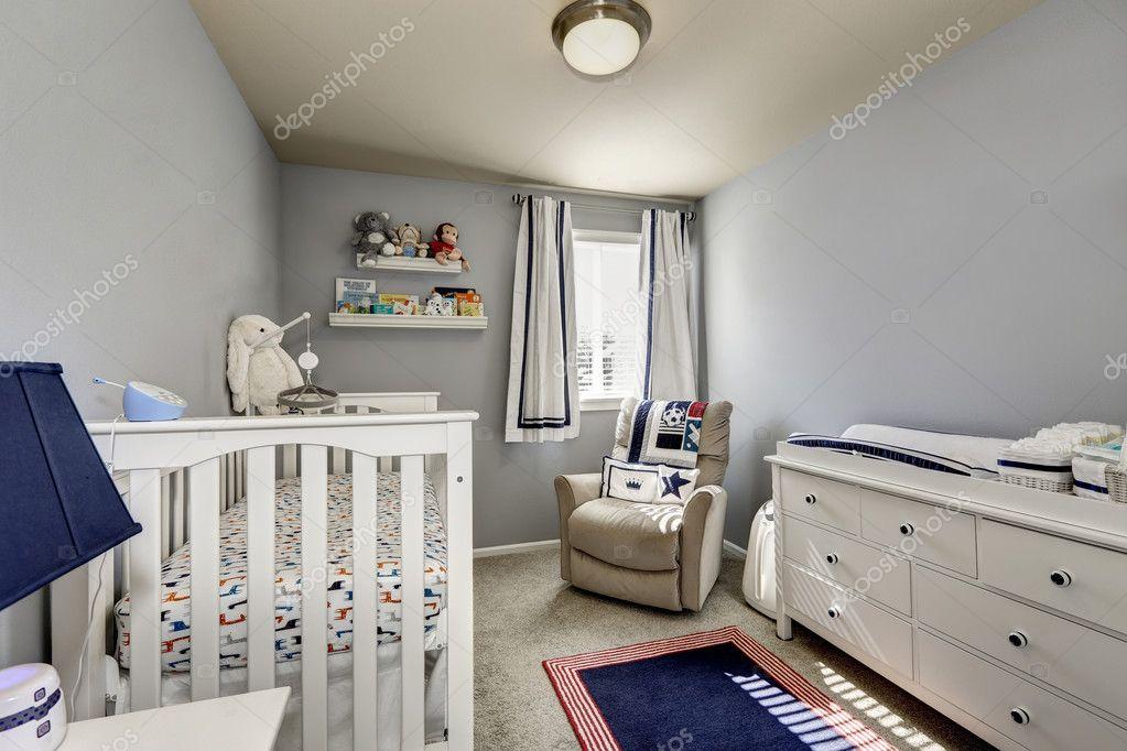 Wnętrze Sypialni Dziecka Szare ściany I Białe Meble