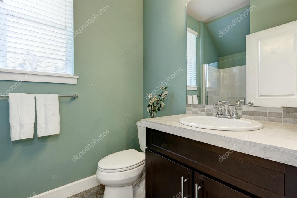 Mint groene halve badkamer interieur — Stockfoto © iriana88w #128003310