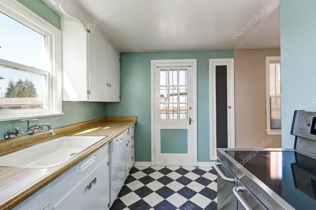 Pareti Con Foto In Bianco E Nero : Pareti di menta e bianco e nero quadrato cucina pavimento
