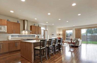 Bright modern open plan kitchen room interior