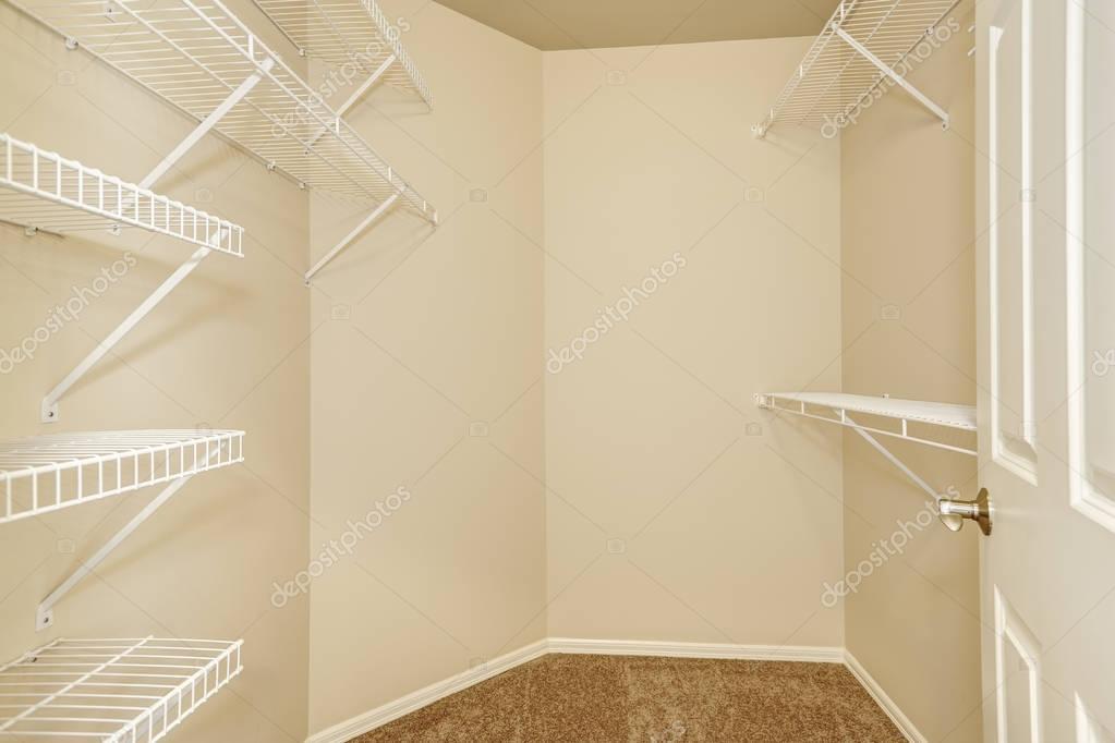 empty walk in closet. Empty Walk-in Closet With Shelves And Carpet Floor \u2014 Stock Photo Empty Walk In