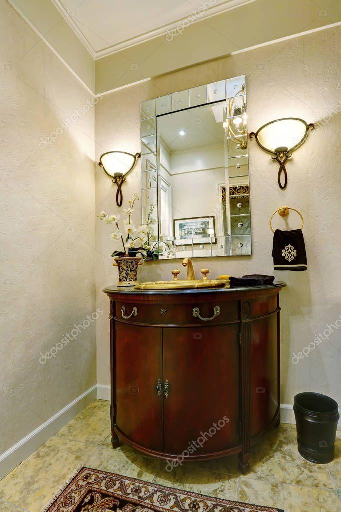 Photos Luxury Bathroom Vanities Interior Of Luxury Bathroom Vanity With Golden Sink Stock Photo C Iriana88w 130424590