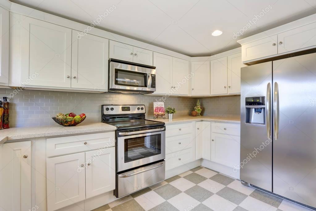 Weiße Küche Lagerung Kombination Und Backsplash Fliesen Boden U2014 Stockfoto