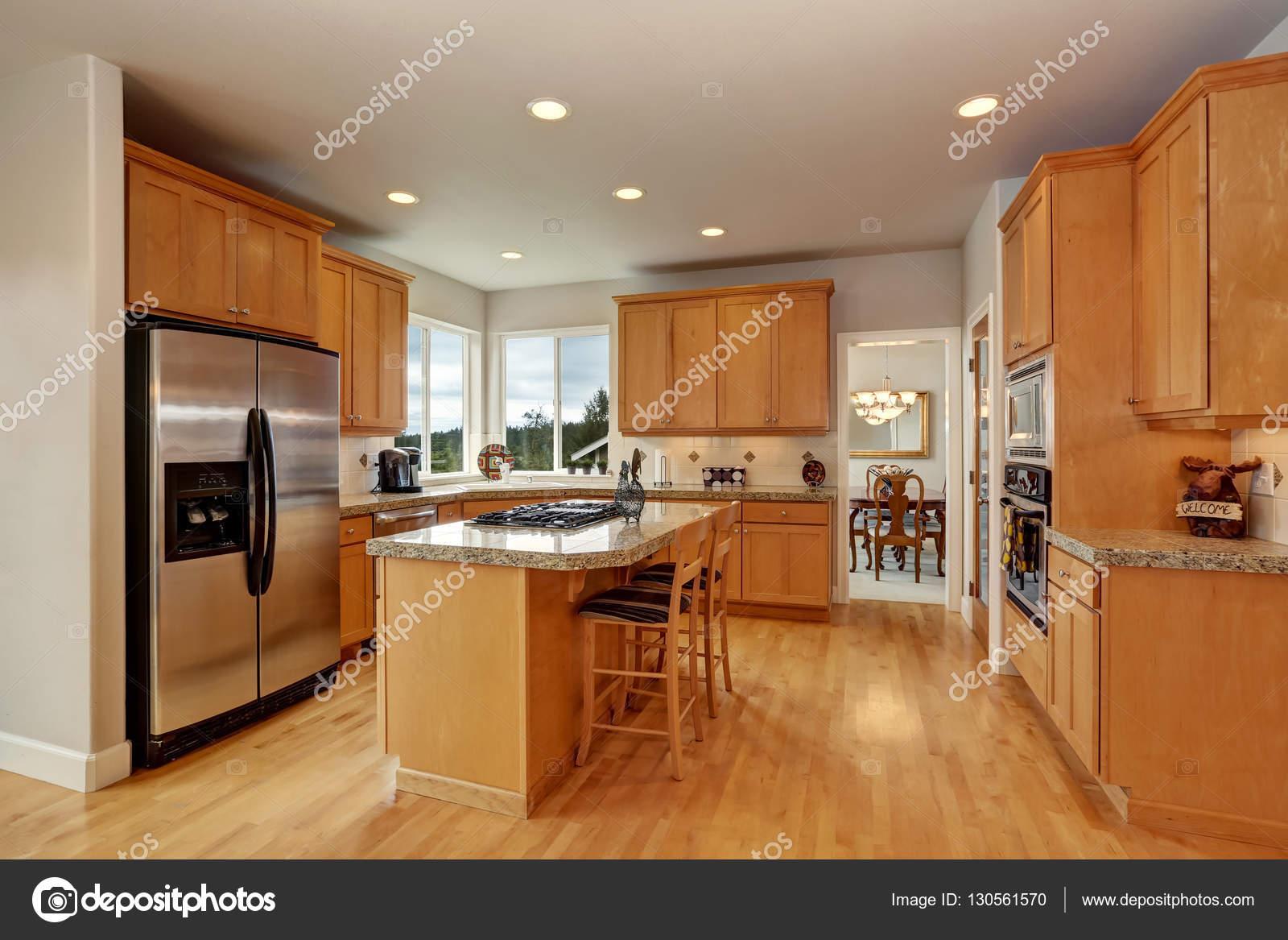 Wooden Kitchen Room Interior Design With Steel Appliances Stock Photo C Iriana88w 130561570