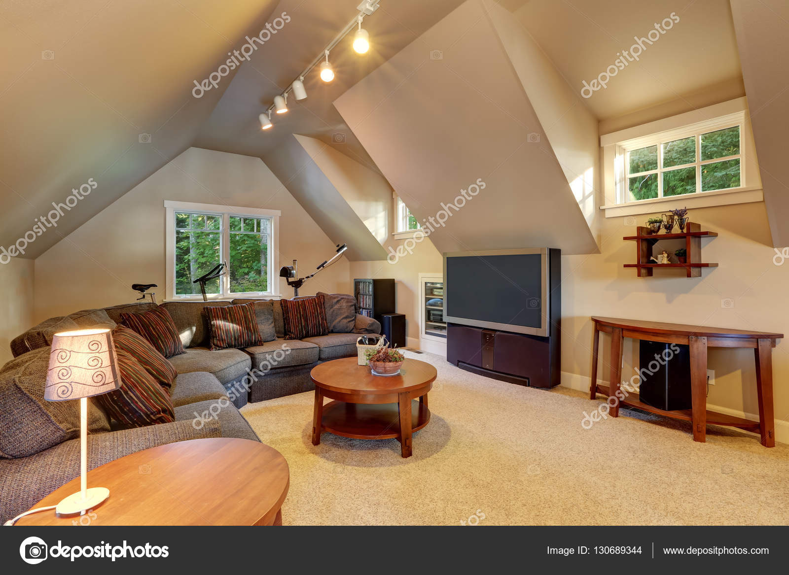Upstairs Living Room Interior Of Luxury House Stock Photo