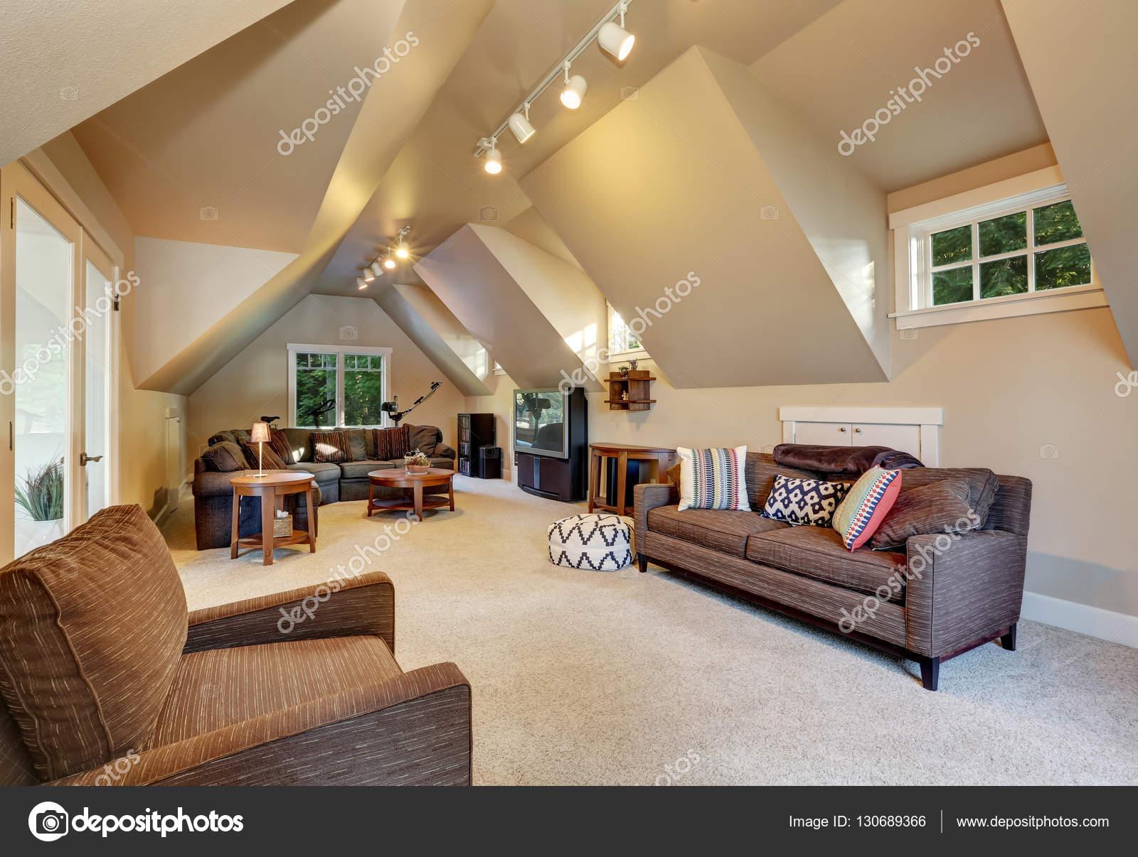 Upstairs Living Room Interior Of Luxury House Stock Photo