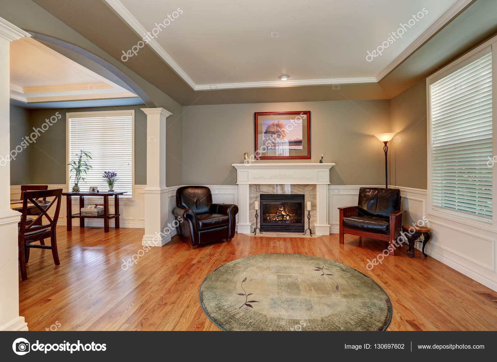 Craftsman style living room Fireplace Craftsman Style Living Room Interior Design With Fireplace Arched Entry To The Dining Room northwest Usa Photo By Iriana88w Depositphotos Craftsman Style Living Room Interior Design Stock Photo