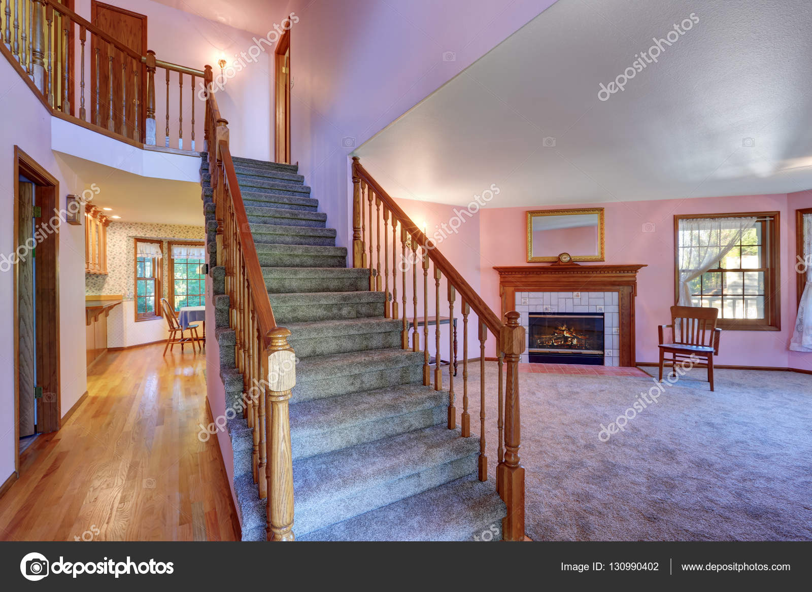 Living Room Hallway Paint Ideas Hallway Interior With Staircase And Living Room At The Back Stock Photo C Iriana88w 130990402