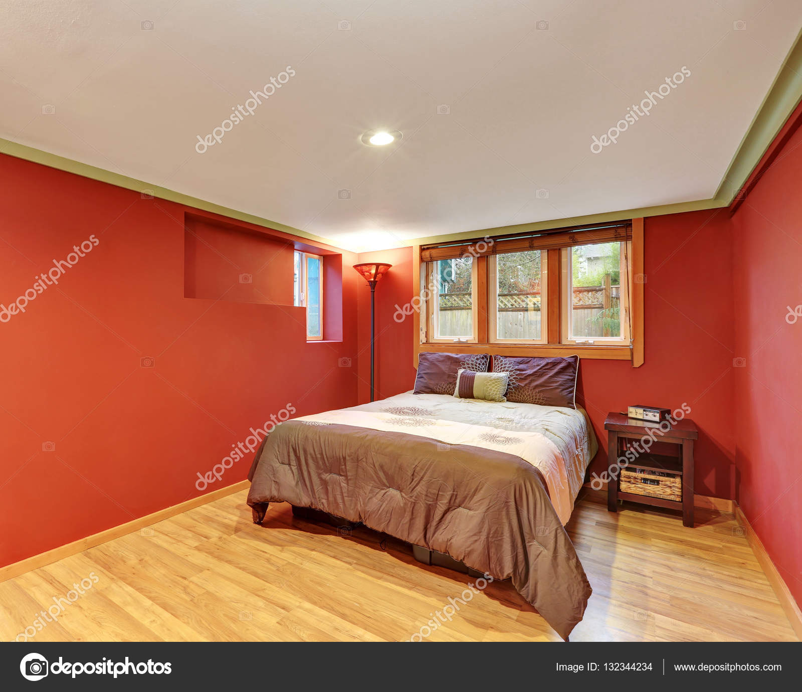 Red bedroom interior design in American bungalow  Stock Photo #132344234