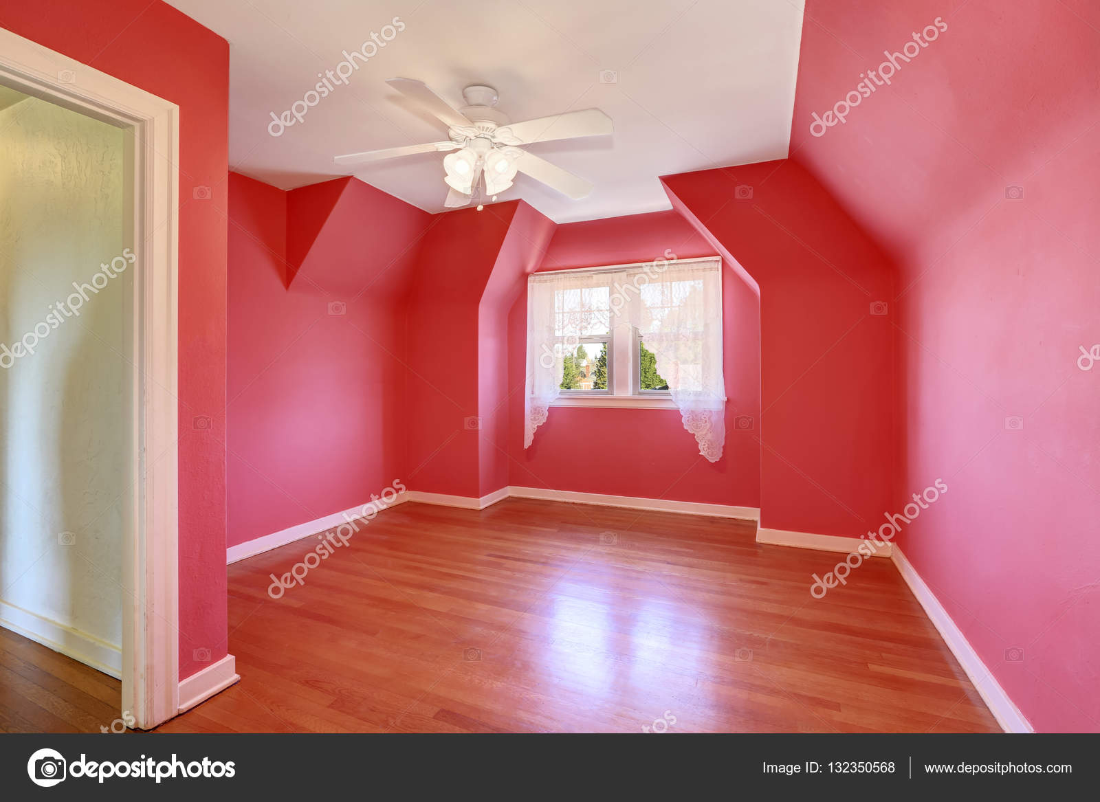 bright red unfurnished room tudor house interior stock photo