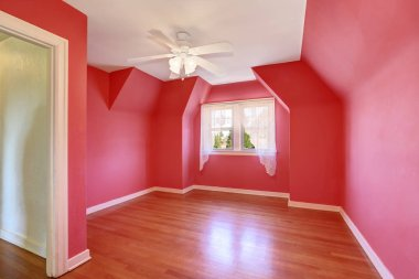 Bright red unfurnished room. Tudor house interior