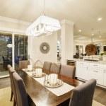 새로운 고급 스러운 홈에 흰색 부엌 디자인 — 스톡 사진 ...