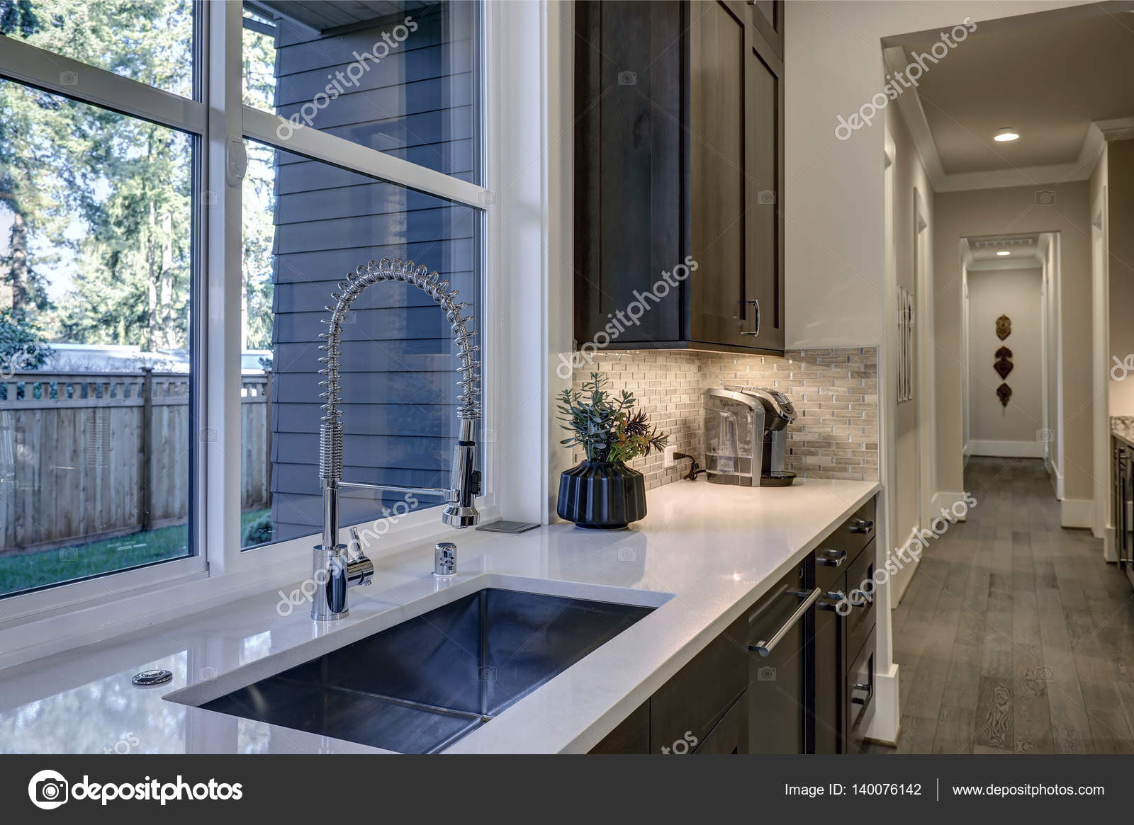 Contemporary Kitchen Design With Brown Kitchen Cabinets