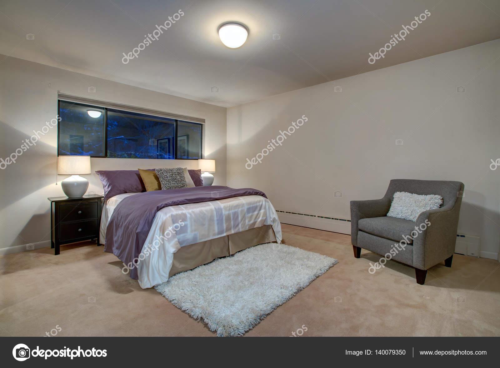 Innenraum Der Pfirsich Schlafzimmer Mit Queensize Bett U2014 Stockfoto