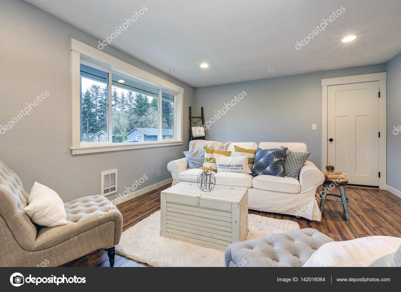 Pareti Soggiorno Grigio E Bianco : Spazio accogliente soggiorno con le pareti grigio blu morbide