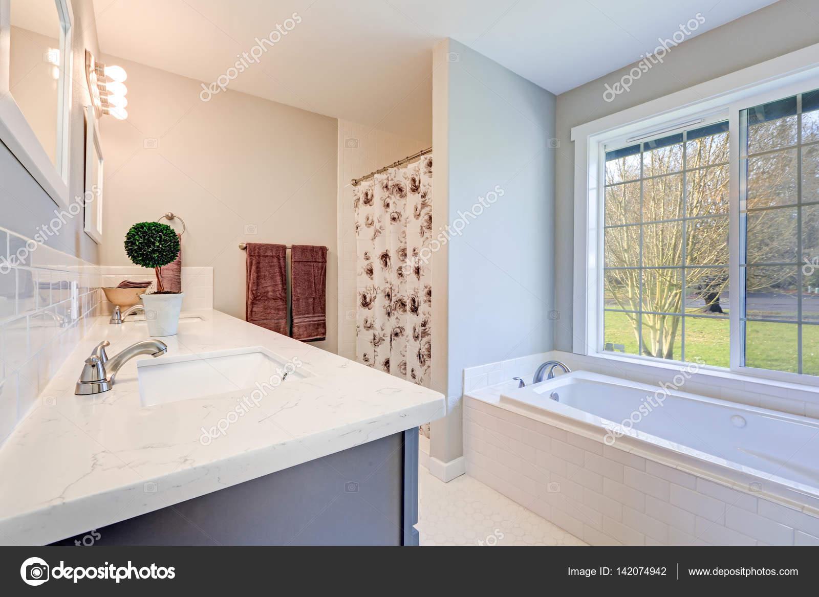 Hellen Gefüllten Badezimmer Innenraum Akzentuiert Mit Blauen Eitelkeit U2014  Stockfoto