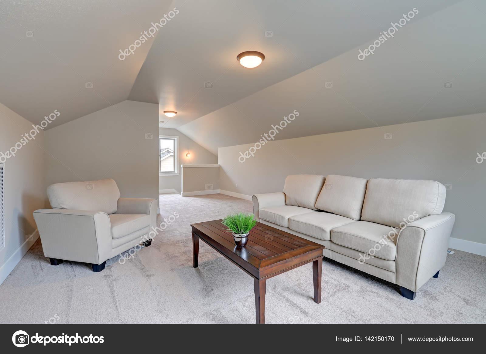 Gewölbte Decke Familienzimmer Interieur mit grauer Farbe — Stockfoto ...