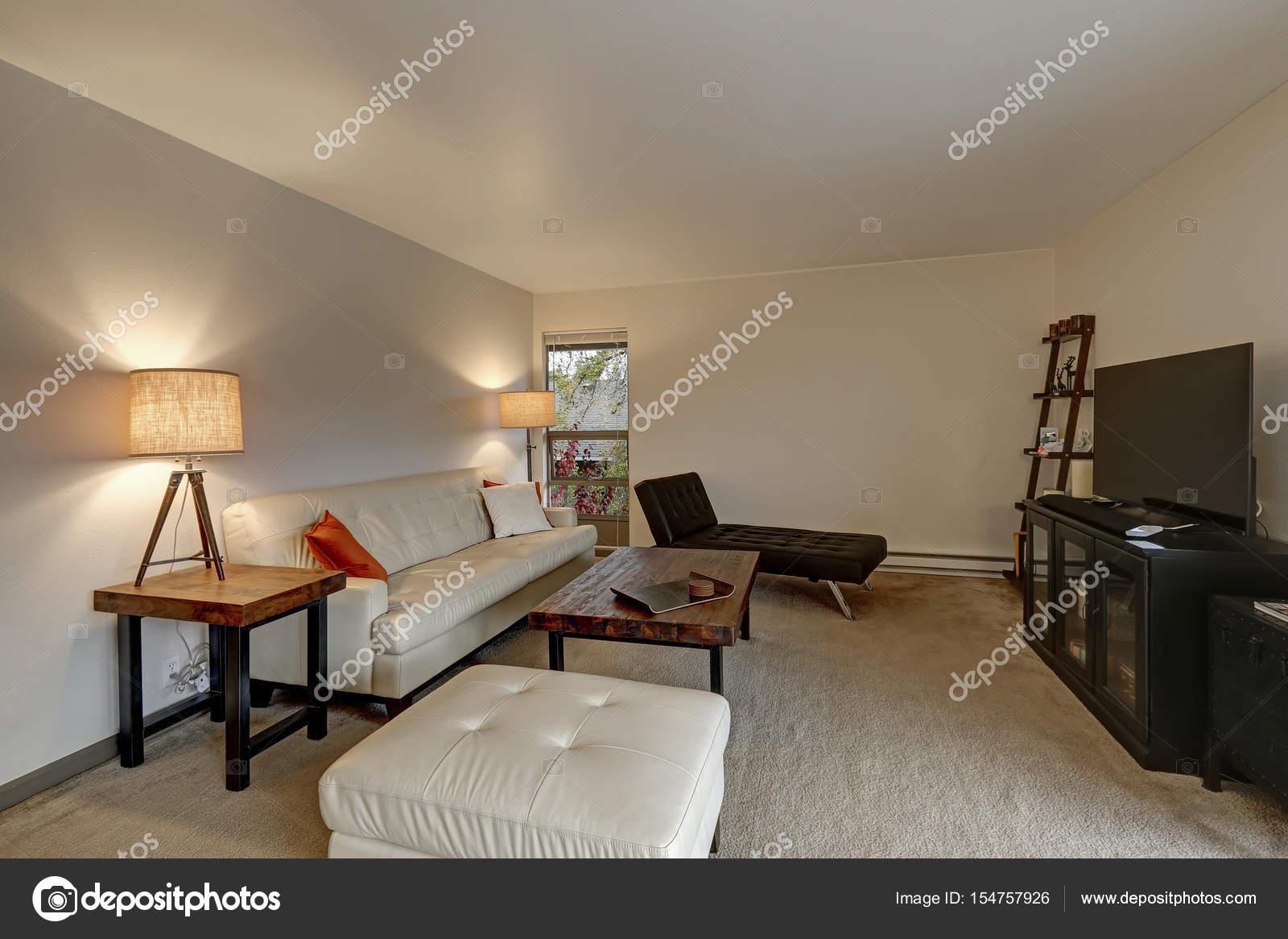 Wohnung Wohnzimmer Innenraum ist weißes Ledersofa — Stockfoto ...