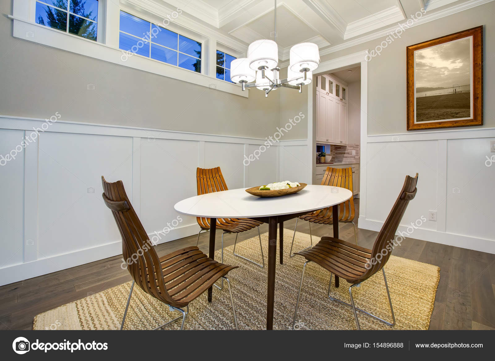 Lovely craftsman style dining room with coffered cealing ...