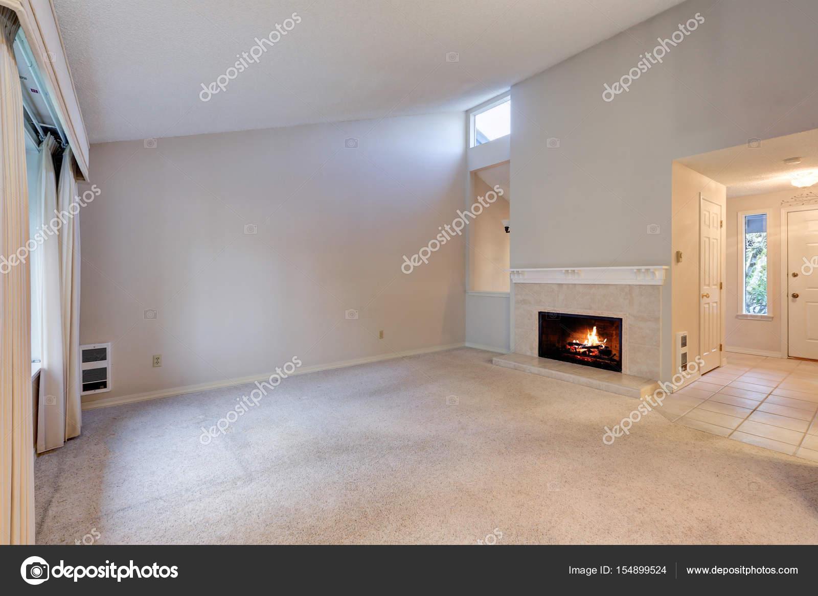 Spazio vuoto soggiorno con soffitto a volta e le pareti grige u2014 foto