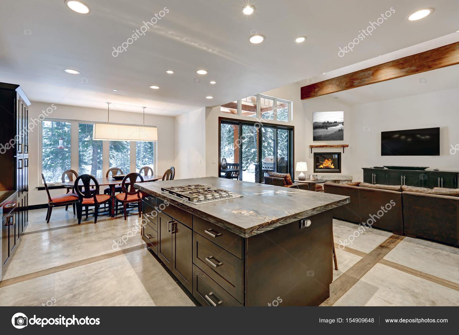 Moderne offene Küche Bodengestaltung in Grautönen — Stockfoto ...