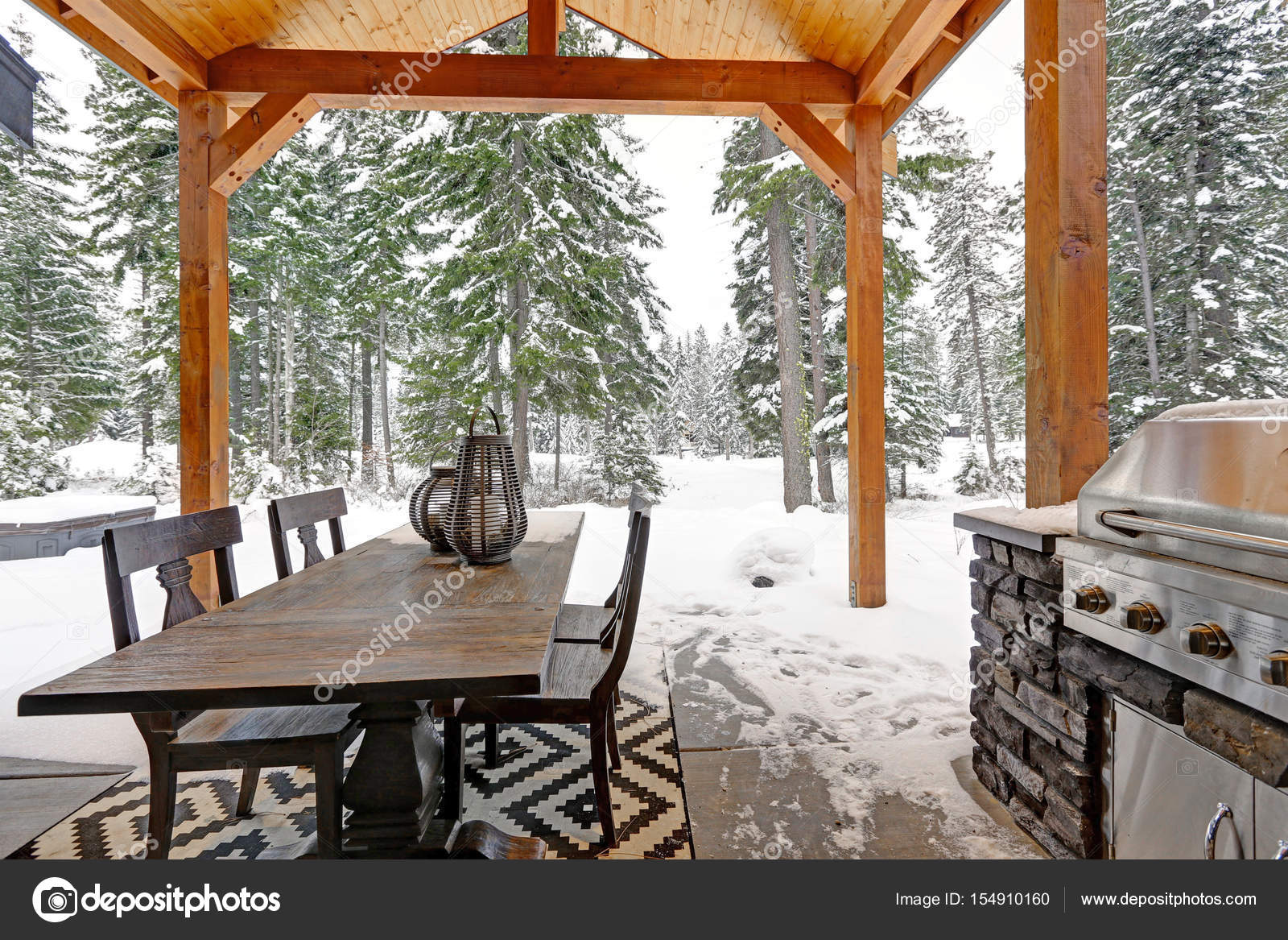 Outdoor Küche Edelstahl Türen : Überdachte terrasse mit fachwerk decke und outdoor küche