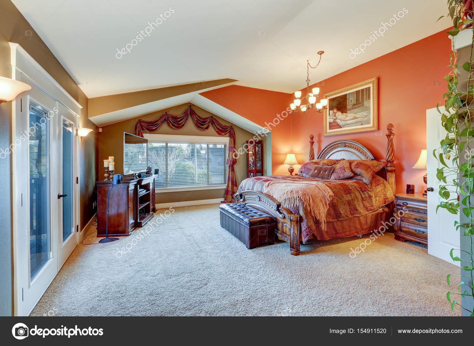 Sensational Elegant Master Suite With Red And Grey Walls Stock Photo Inzonedesignstudio Interior Chair Design Inzonedesignstudiocom