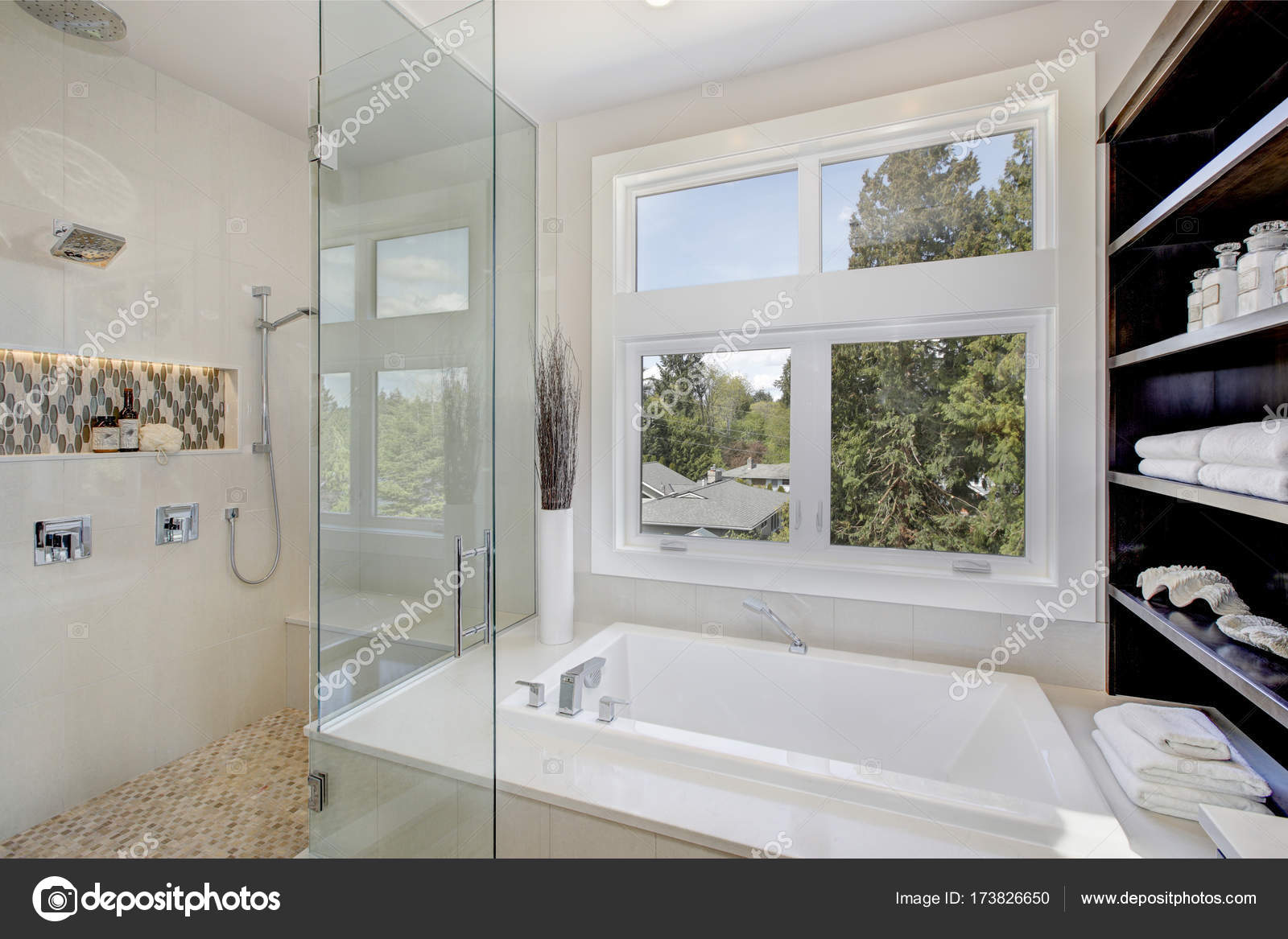Luxury Large Walk In Showers.Luxury Bathroom Interior With Large Walk In Shower Stock