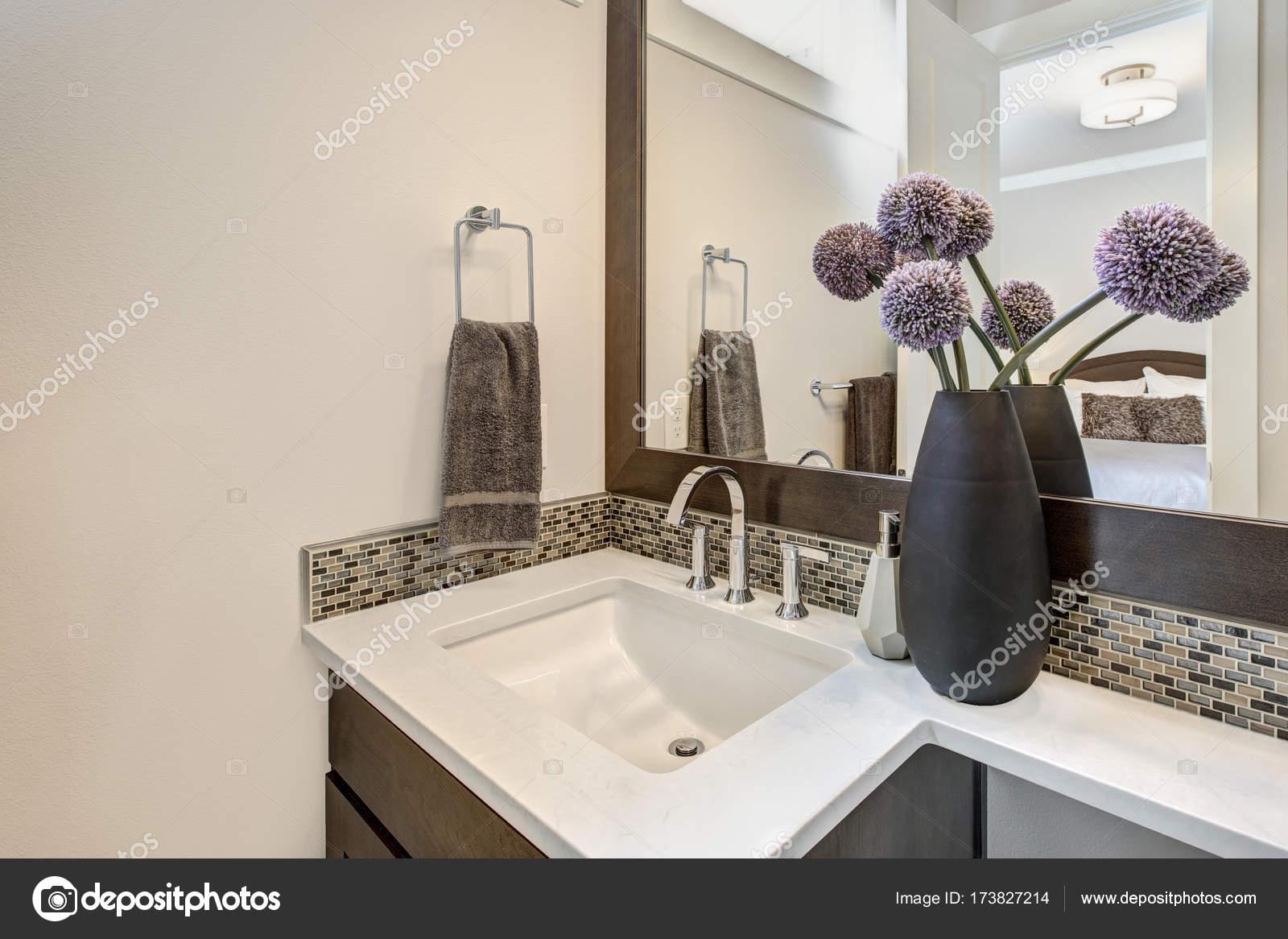 Rechthoekige Witte Wastafel : Witte en bruine badkamer interieur met ijdelheid kabinet