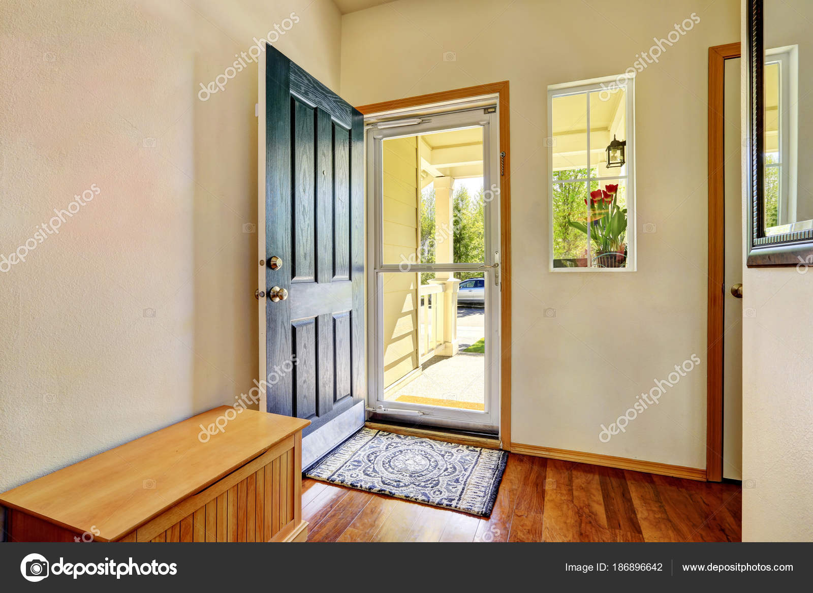Open front door Glass Small Foyer With Green Open Front Door Stock Photo Istock Small Foyer With Green Open Front Door Stock Photo Iriana88w
