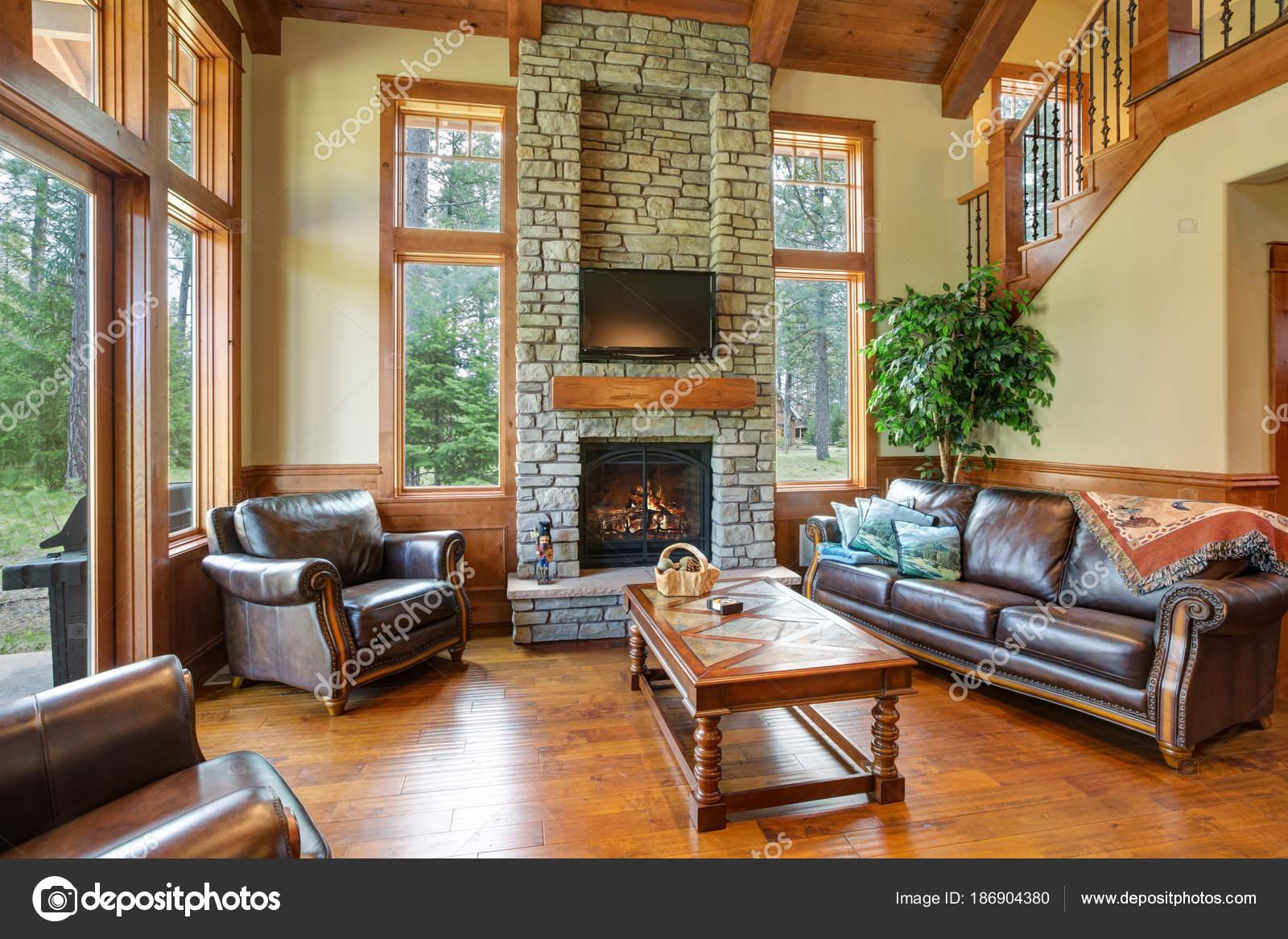 Design straordinario soggiorno con un camino di pietra muro — Foto ...